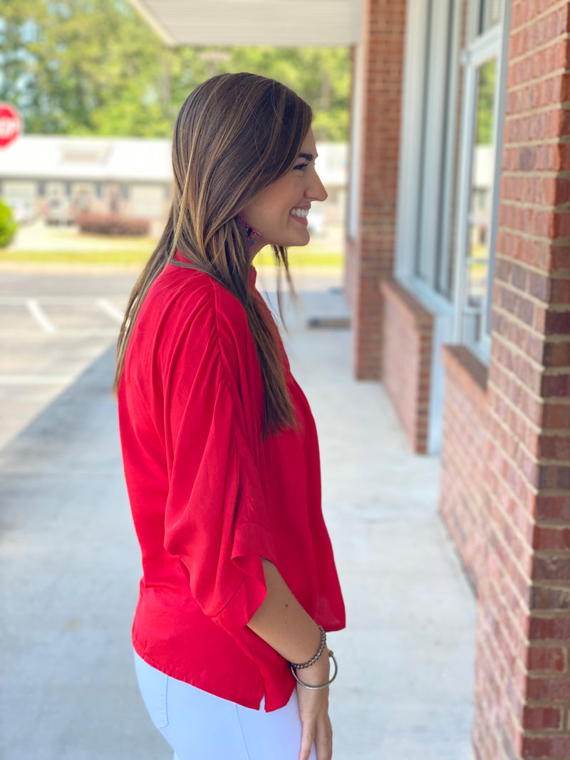 Keep Loving You Red High Neck Blouse-Shop-Womens-Boutique-Clothing