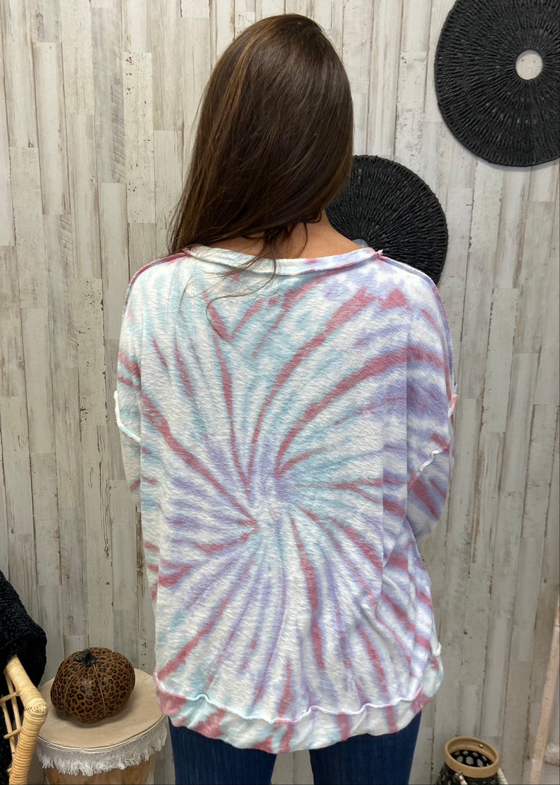 Social Luxe Lilac Blue Tie Dye Sweatshirt-Shop-Womens-Boutique-Clothing