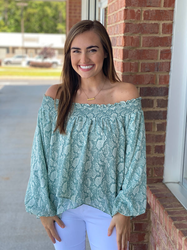 Go For It Mint Off Shoulder Top-Shop-Womens-Boutique-Clothing