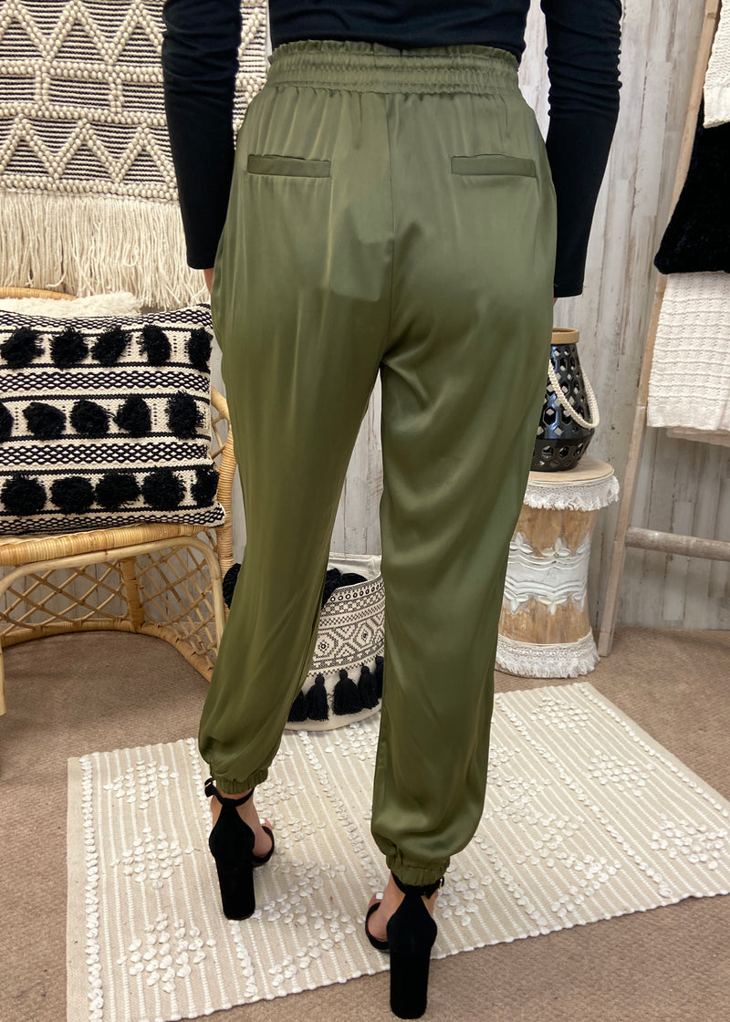 Cypress Meadow Olive Satin Joggers-Shop-Womens-Boutique-Clothing