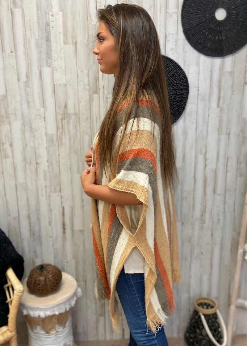 Autumn Whispers Rust Striped Cardigan-Shop-Womens-Boutique-Clothing