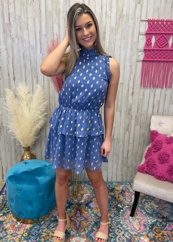 Alluring Charm Indigo Ruffle Dress-Shop-Womens-Boutique-Clothing
