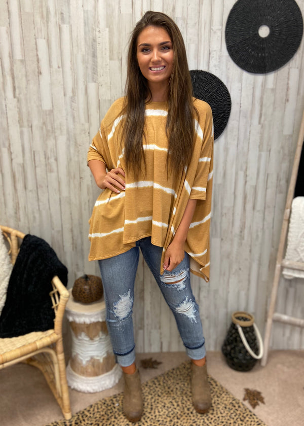 Tribeca Treat Mustard Stripe Top-Shop-Womens-Boutique-Clothing