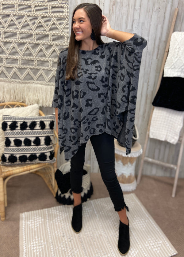 Bold Moves Charcoal Leopard Poncho-Shop-Womens-Boutique-Clothing