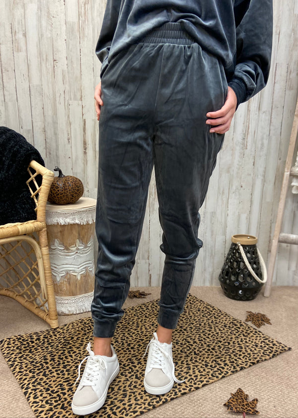 Snuggle So Soft Charcoal Velour Joggers-Shop-Womens-Boutique-Clothing