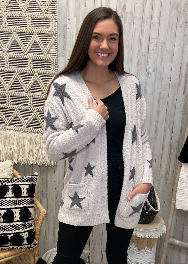 Winter's Chill Cream Star Cardigan-Shop-Womens-Boutique-Clothing