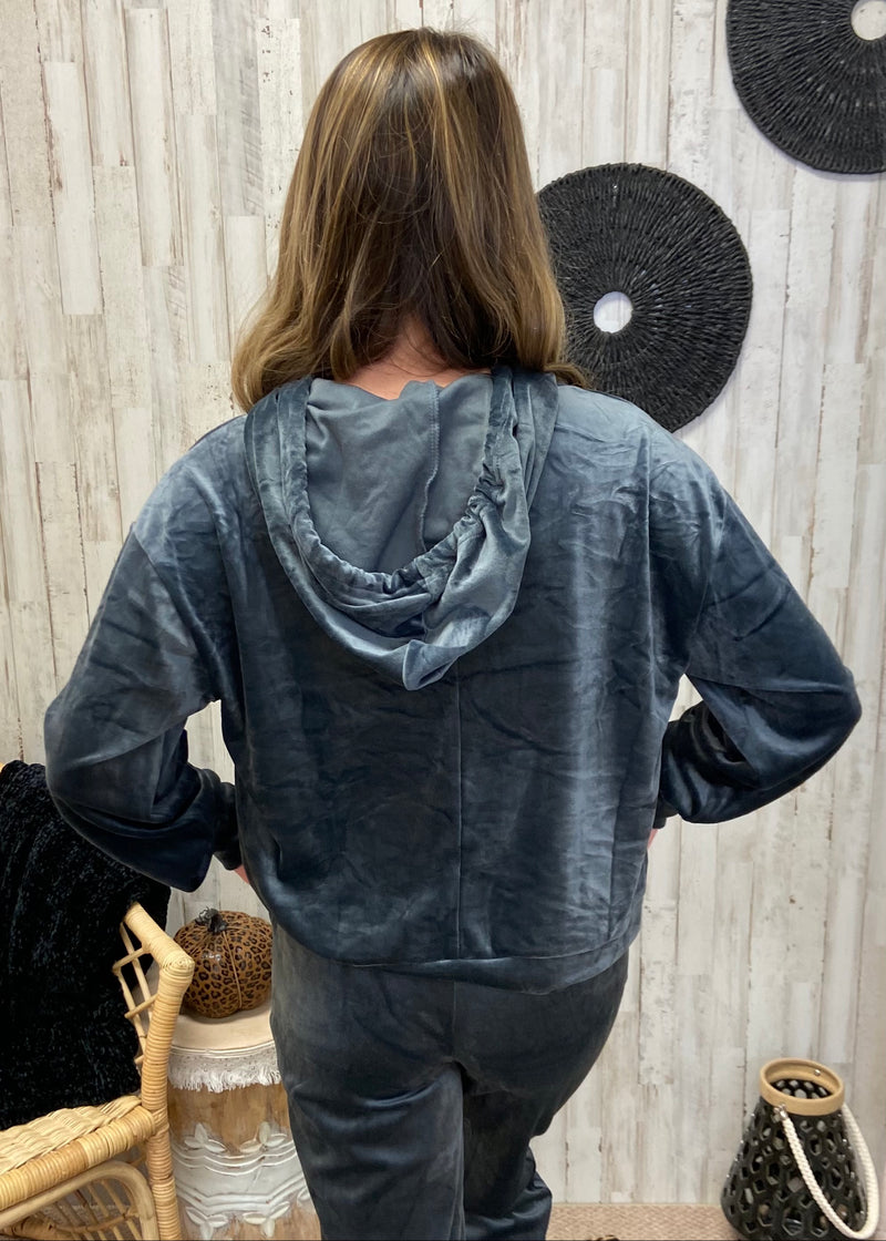 Snuggle So Soft Charcoal Velour Hoodie-Shop-Womens-Boutique-Clothing