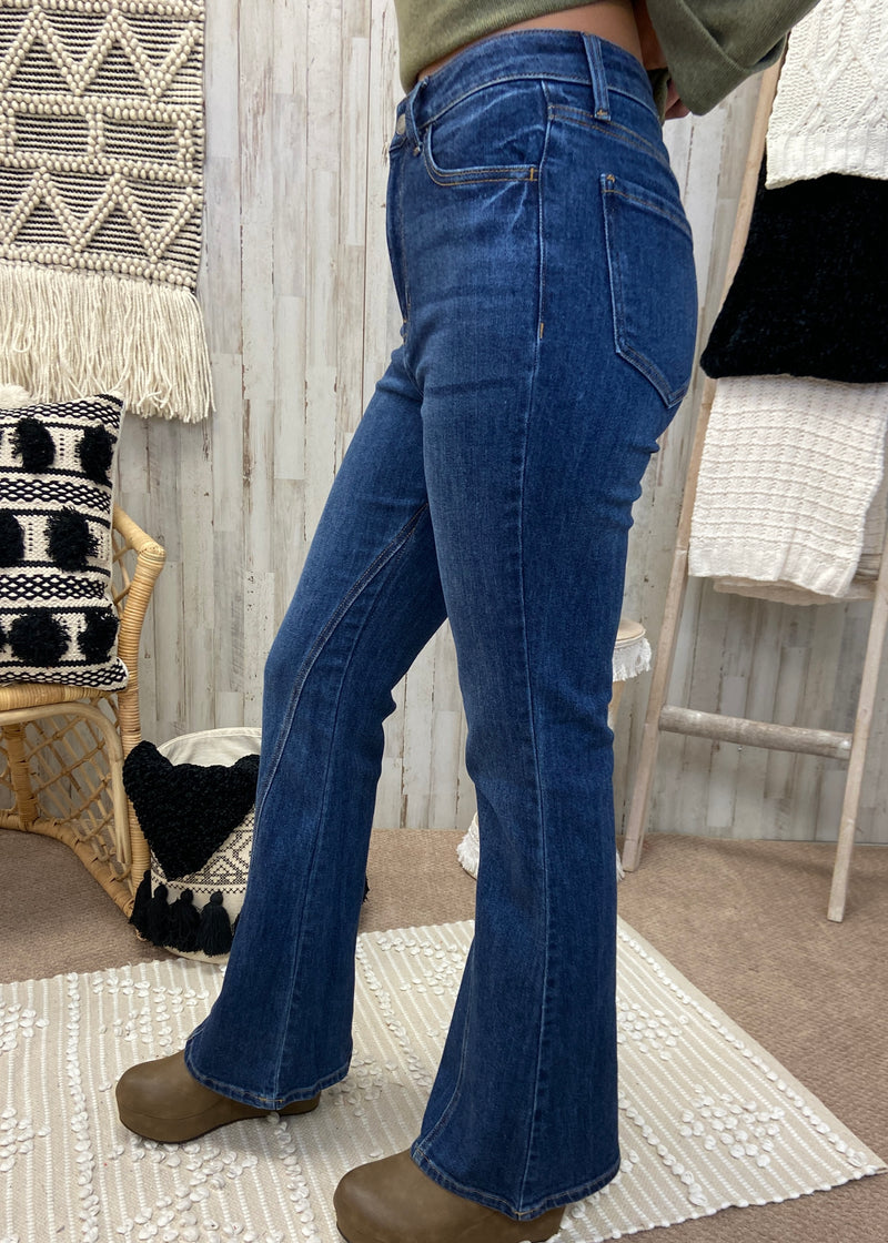 Miss Me Then Dark Denim Flare Jeans-Shop-Womens-Boutique-Clothing