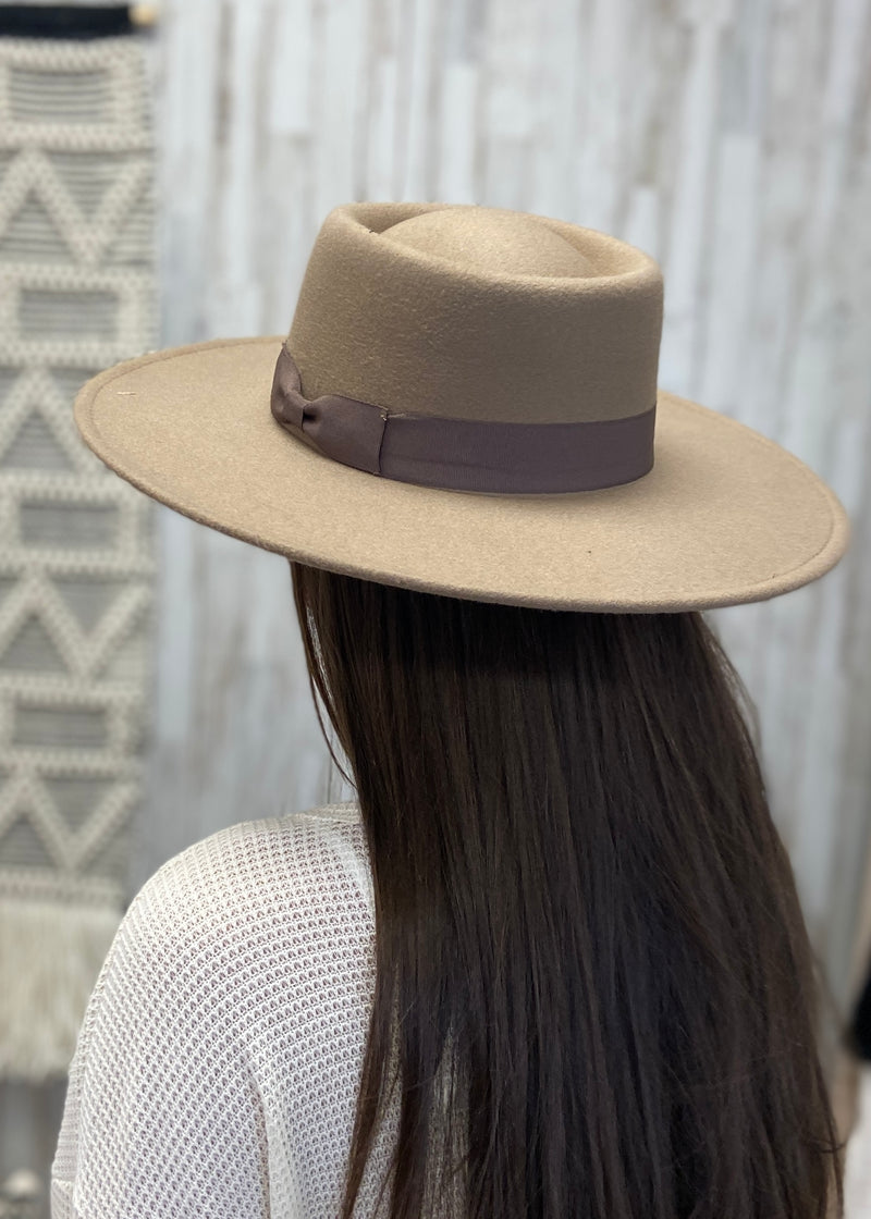 Natural Faith Dark Taupe Ribbon Hat-Regular-Shop-Womens-Boutique-Clothing