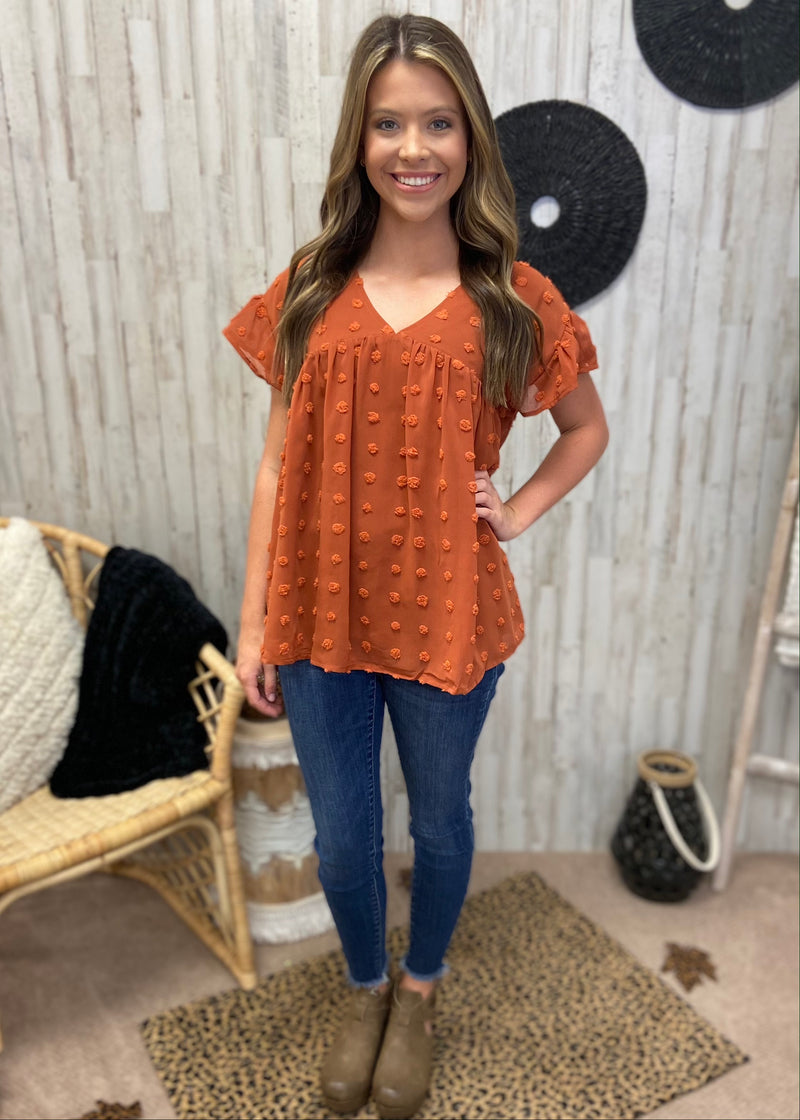 Enchanting Whispers Rust Babydoll Top-Shop-Womens-Boutique-Clothing