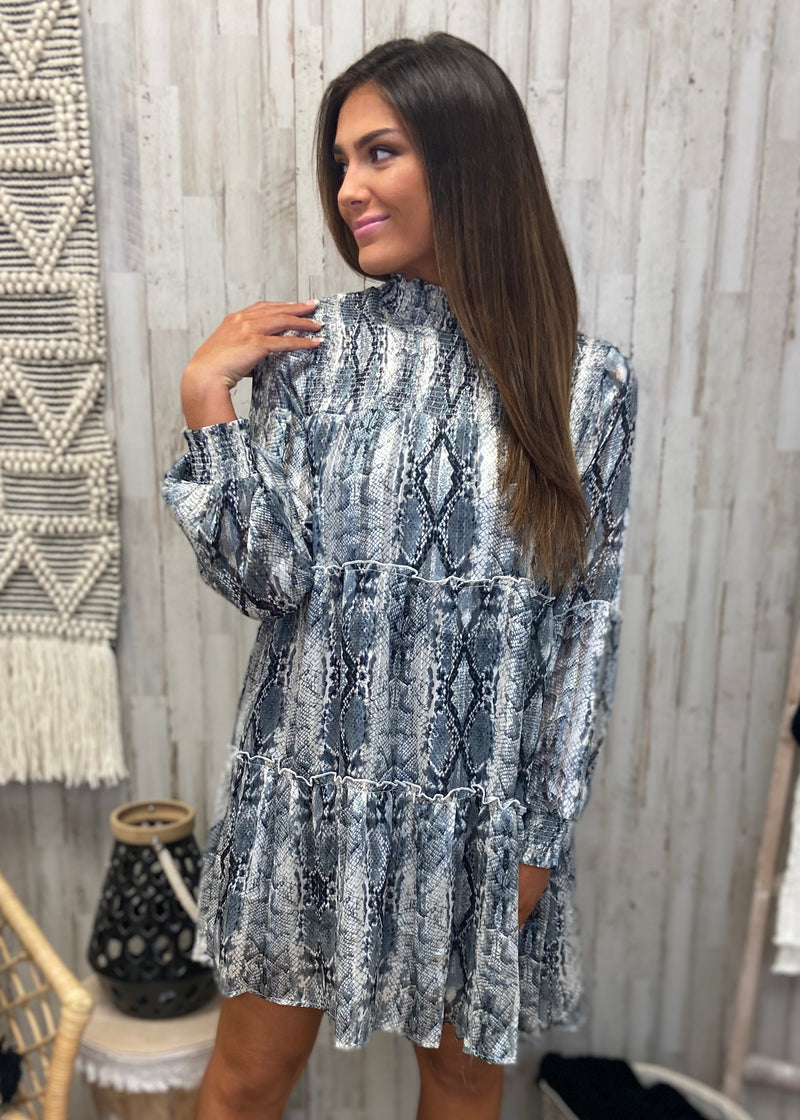 Look Up To You Grey Snakeprint Dress-Shop-Womens-Boutique-Clothing
