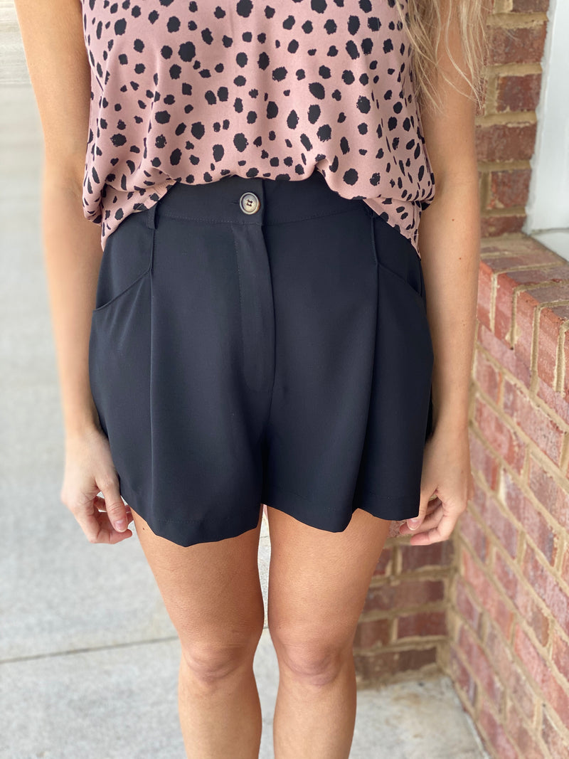 Black Pleated High Waist Shorts-Shop-Womens-Boutique-Clothing