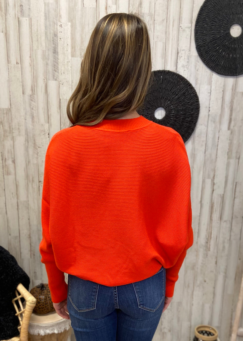 Honey Love Orange Ribbed Sweater-Shop-Womens-Boutique-Clothing