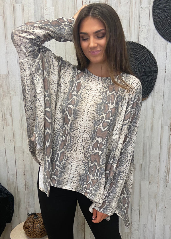 Once Bitten Taupe Snakeprint Top-Shop-Womens-Boutique-Clothing