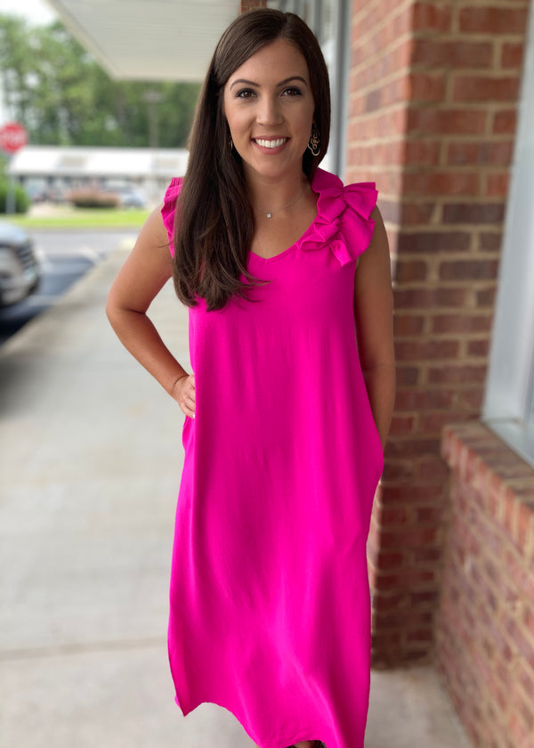 Isn't She Lovely Hot Pink Maxi Dress-Shop-Womens-Boutique-Clothing