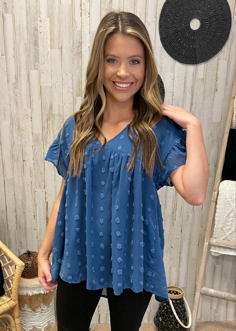 Enchanting Whispers Slate Babydoll Top-Shop-Womens-Boutique-Clothing