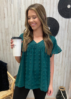 Enchanting Whispers Green Babydoll Top-Shop-Womens-Boutique-Clothing