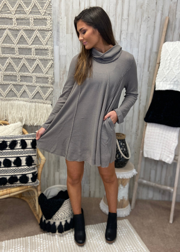 Sweet Memory Mocha Turtleneck Dress-Shop-Womens-Boutique-Clothing
