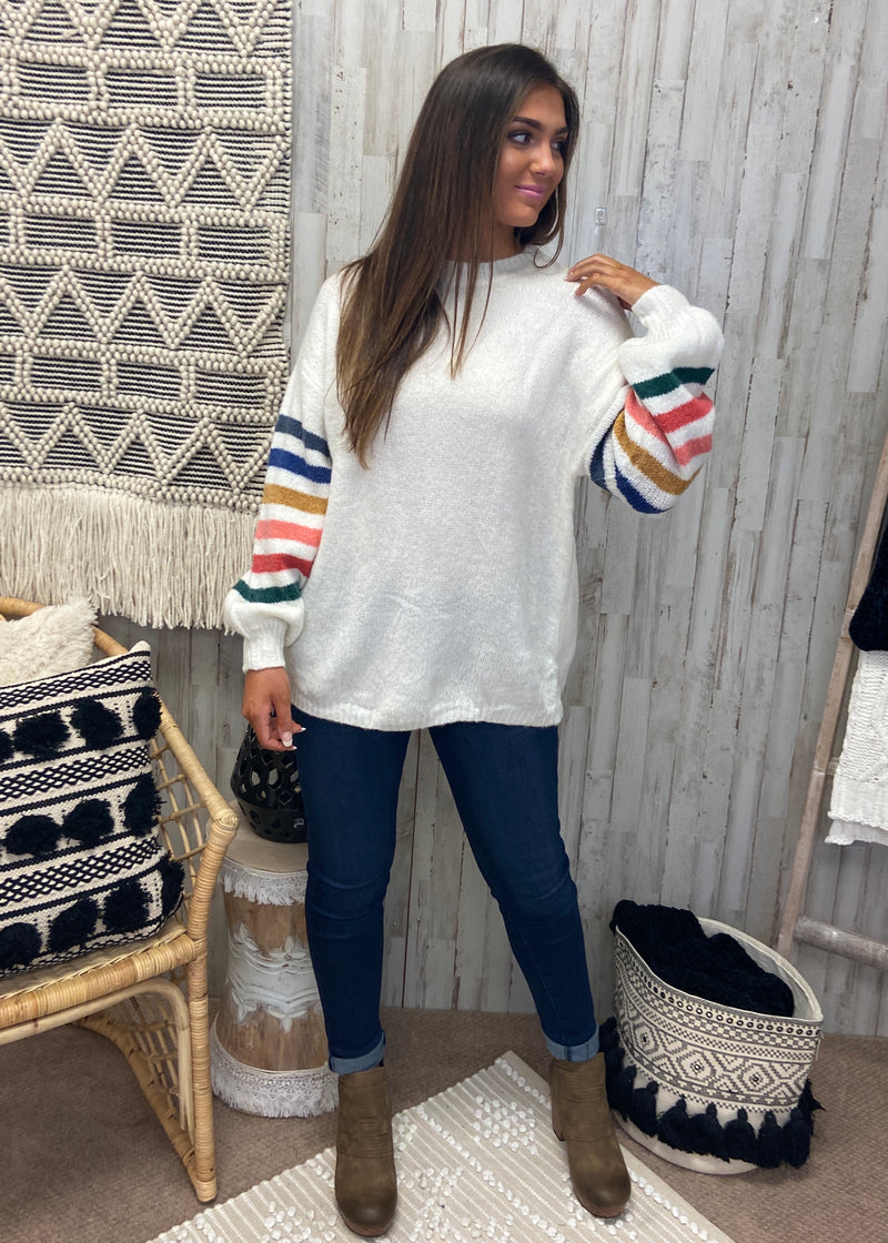 Toasty in Tahoe White Stripe Sweater-Shop-Womens-Boutique-Clothing