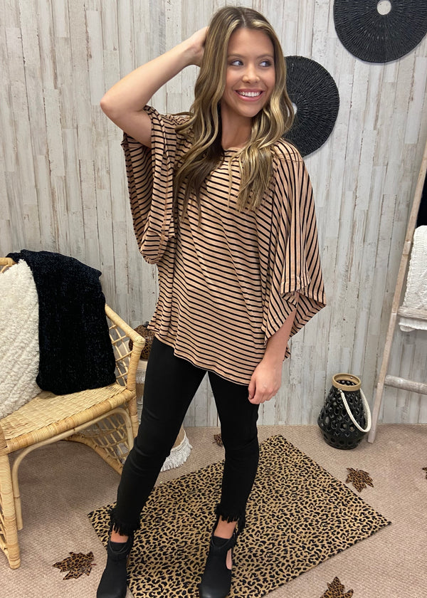 Maple Kisses Taupe Stripe Top-Shop-Womens-Boutique-Clothing