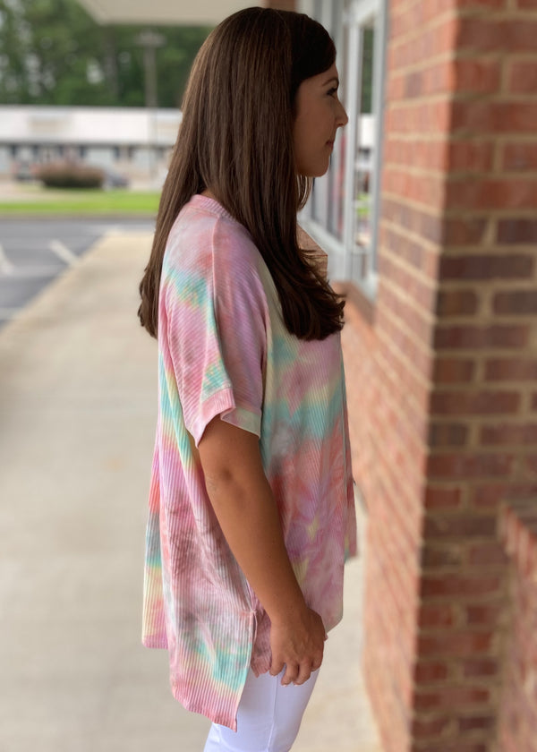 Do The Talking Pink Tie Dye Top-Shop-Womens-Boutique-Clothing