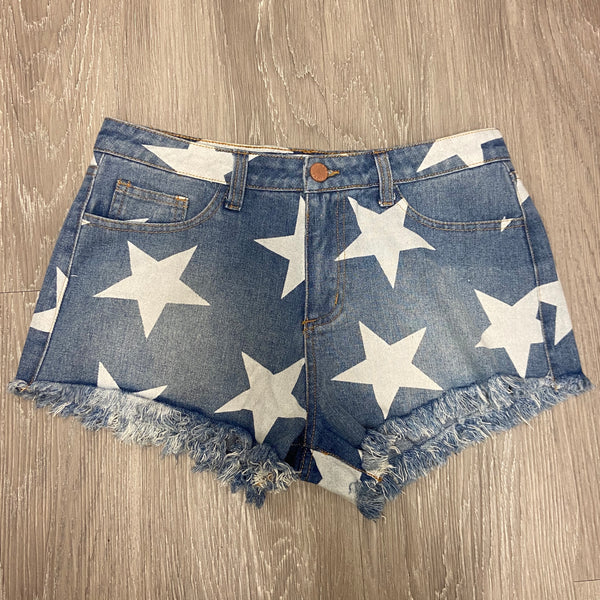 Independence Way Denim Star Shorts-Shop-Womens-Boutique-Clothing