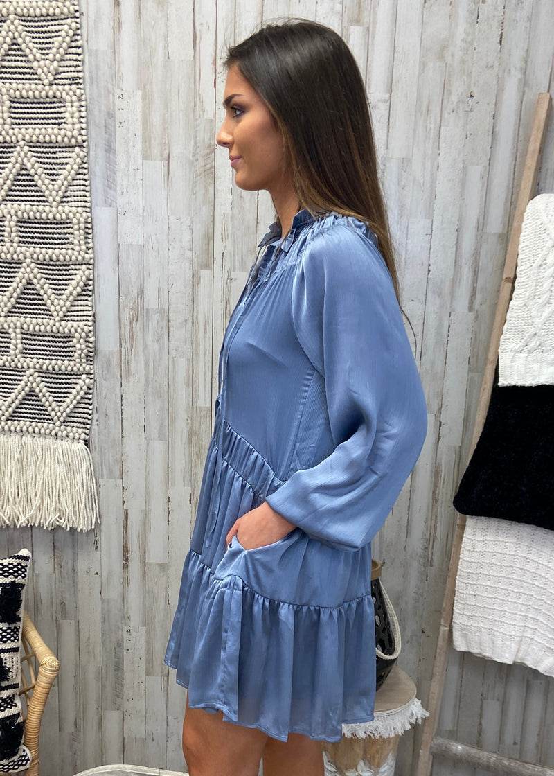 Stuck In Wonderland Dusty Blue Satin Dress-Shop-Womens-Boutique-Clothing