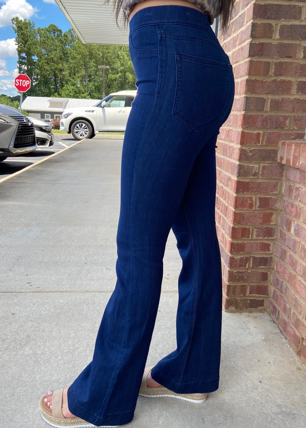 Basic Needs Dark Blue Flare Pants-Shop-Womens-Boutique-Clothing