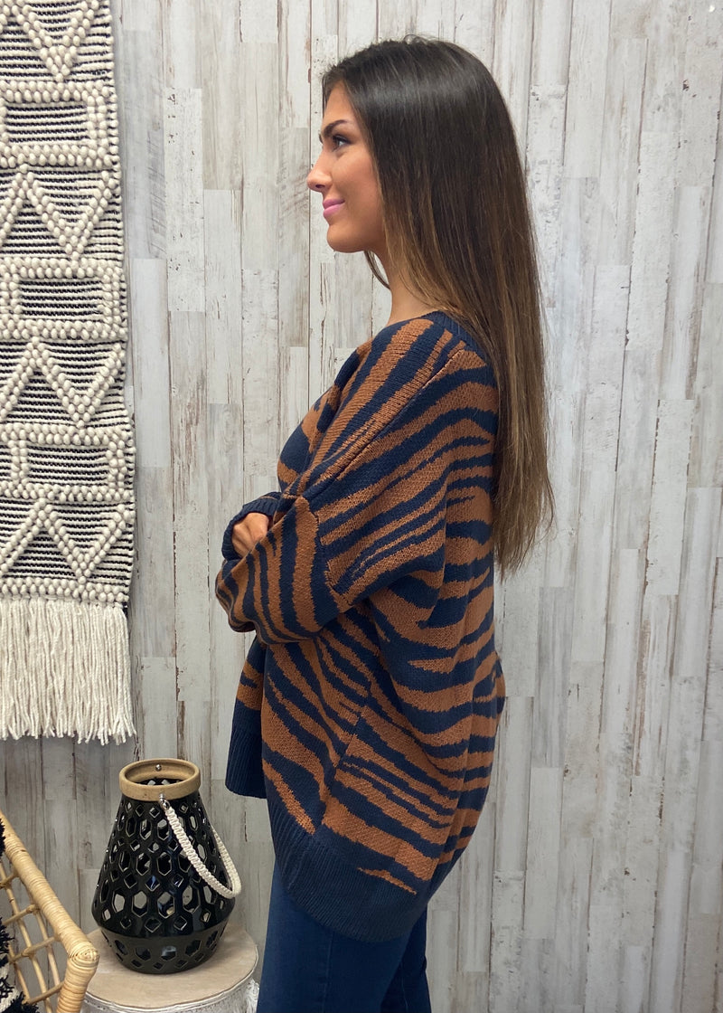 Better Than That Navy Zebra Sweater-Shop-Womens-Boutique-Clothing