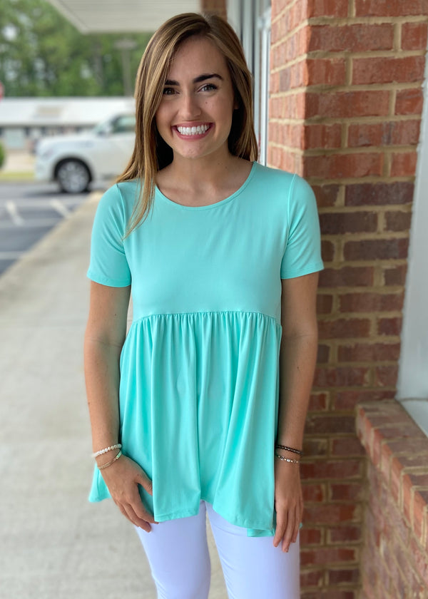 Easy Come Easy Go Blue Mint Brushed Babydoll Top-Shop-Womens-Boutique-Clothing