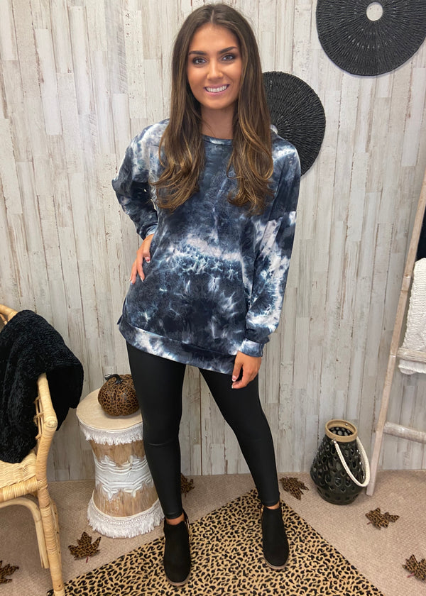 Midnight Stroll Black Tie Dye Top-Shop-Womens-Boutique-Clothing