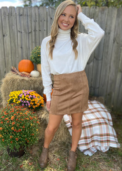 Missing You Camel Suede Skirt-Shop-Womens-Boutique-Clothing