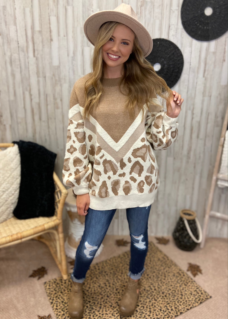 Fit For Fall Taupe Leopard Sweater-Shop-Womens-Boutique-Clothing