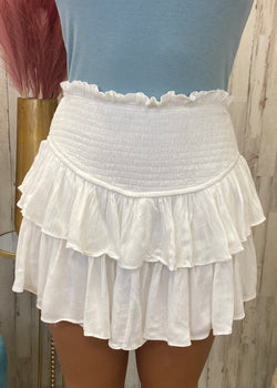 Inspire My Heart White Smocked Skort-Shop-Womens-Boutique-Clothing