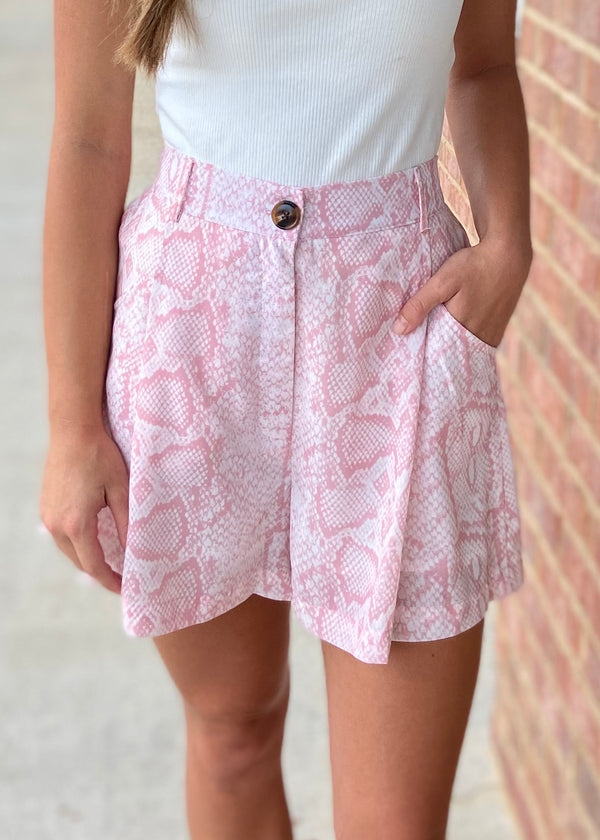 Hidden Places Blush Snake Print High Waisted Pocket Shorts-Shop-Womens-Boutique-Clothing