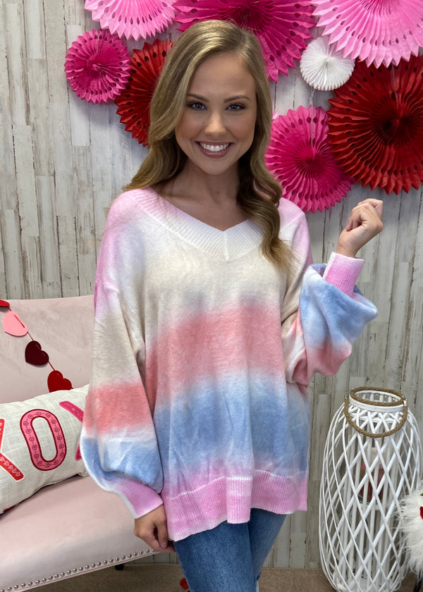 Magnetic Sparkle Pink Tie Dye Sweater-One Size-Shop-Womens-Boutique-Clothing