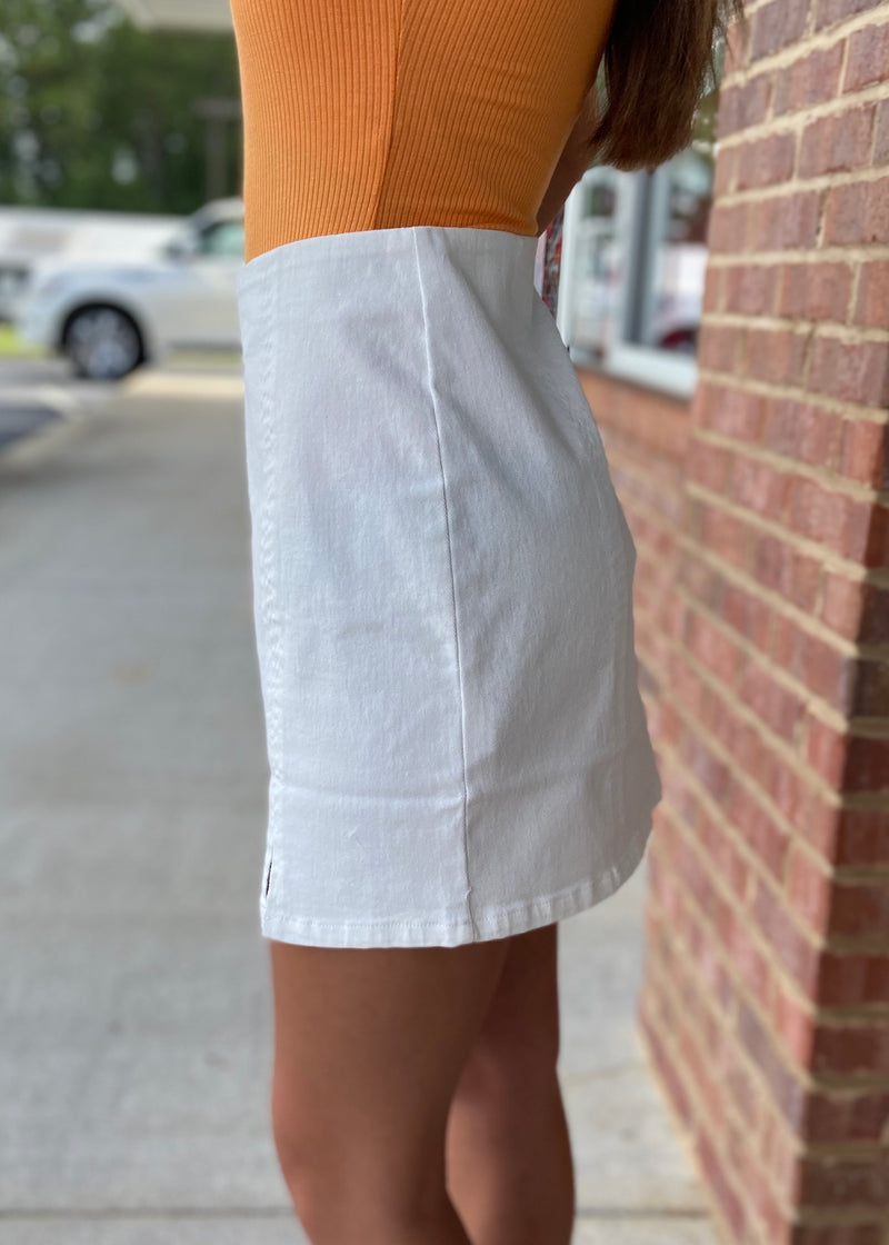 Walk This Way White Front Double Slit Twill Skirt-Shop-Womens-Boutique-Clothing
