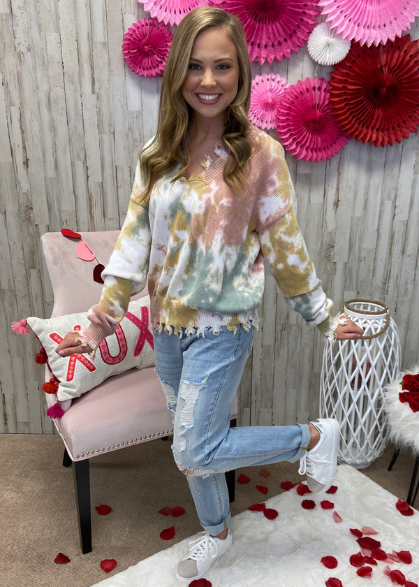 Like You Do Pink Tie Dye Sweater-Shop-Womens-Boutique-Clothing