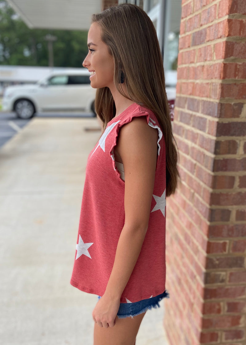 You're A Star Dusty Red Star Top-Shop-Womens-Boutique-Clothing