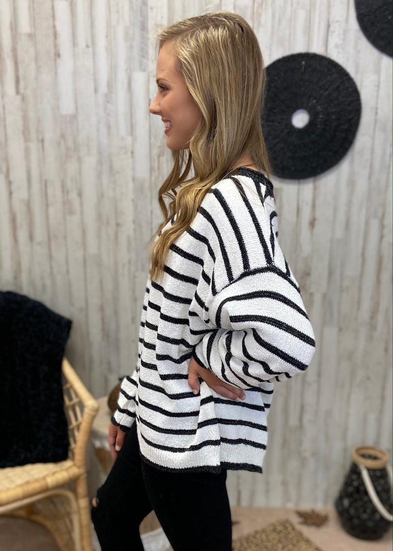 Cozy and Fabulous White Pinstripe Sweater-Shop-Womens-Boutique-Clothing