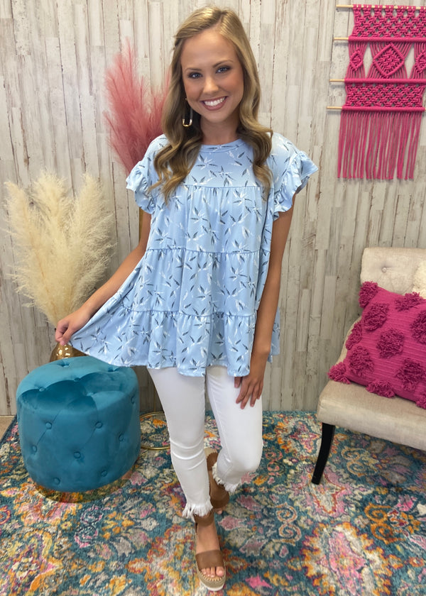 Windswept Fields Dusty Blue Ruffle Top-Shop-Womens-Boutique-Clothing
