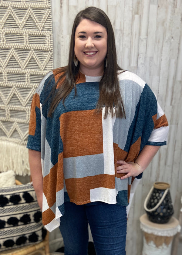 Rooftop Kisses Plus Rust Colorblock Top-One Size Plus-Shop-Womens-Boutique-Clothing