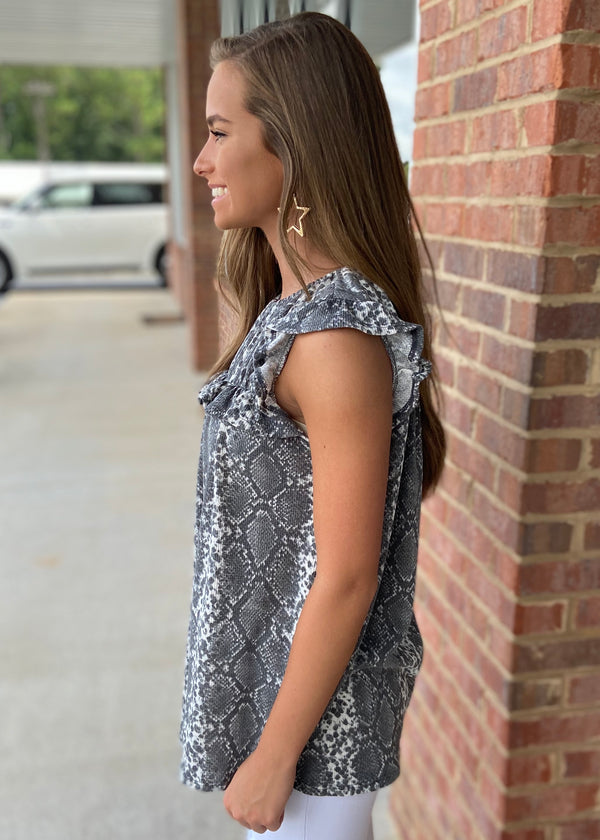 Moving Moment Charcoal Snake Top-Shop-Womens-Boutique-Clothing