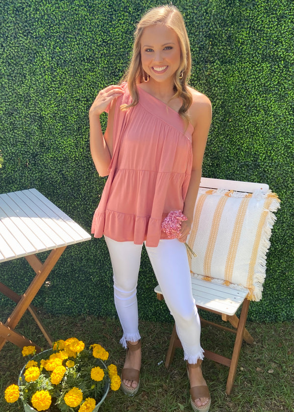 Sunkissed Memory Salmon Bow Top-Shop-Womens-Boutique-Clothing