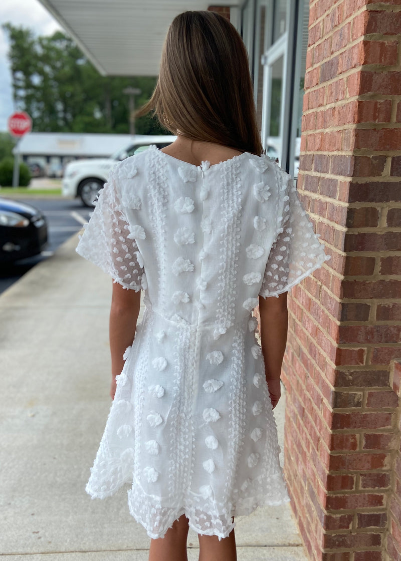 Above And Beyond Off White Pom Pom Dress-Shop-Womens-Boutique-Clothing