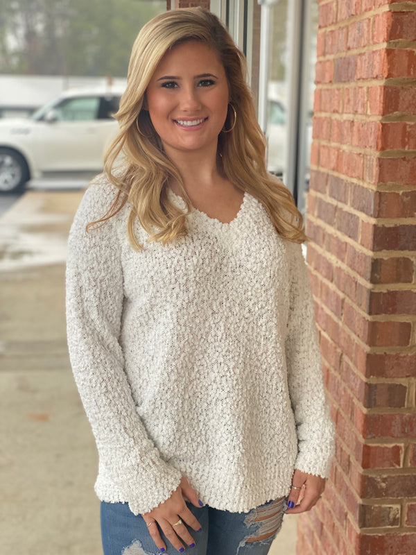 Merry and Bright Ivory V-neck Popcorn Sweater