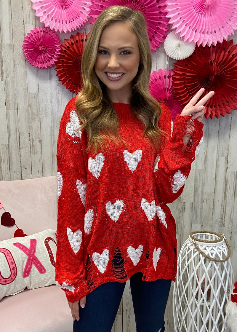 Matters Of The Heart Red Heart Sweater-Shop-Womens-Boutique-Clothing