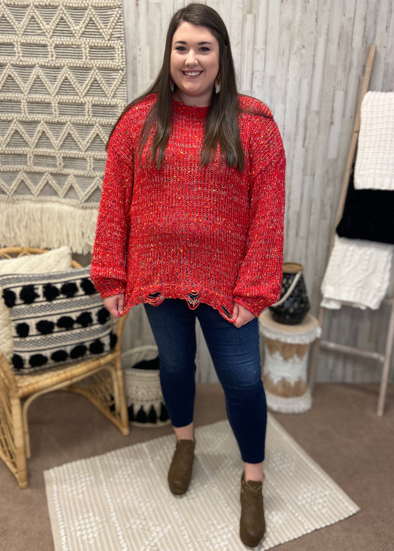 Winter Rush Plus Red Confetti Sweater-Shop-Womens-Boutique-Clothing