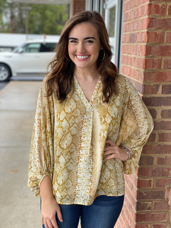Gold Mustard Snake Bubble Sleeve V-neck Top