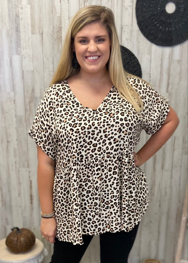 Fierce Style Plus Leopard Babydoll Top-Shop-Womens-Boutique-Clothing